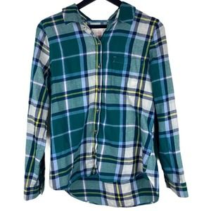 SO Flannel Shirt Blue Yellow Green Large